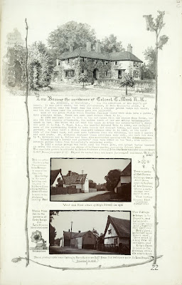 A Record of Shelford Parva by Fanny Wale P22 fo. 23, page 22: A black and white watercolour of Low Brooms, residence of Colonel T. Wood, R.A., us at the top of the page. A description of it is underneath. Two photographs, one of Hackers cottage, High Street, 1915 and one of what was once called Petts Yard, 1918. A watercolour of a gramophone is on the left hand side of the page. [fo.21, but within mount C]