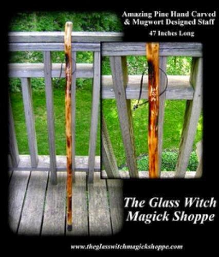 Amazing Pine Hand Carved And Mugwort Designed Staff 50 00