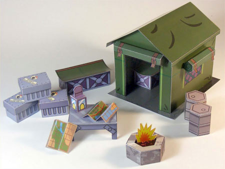 Dino Mini World Papercraft Camping Props