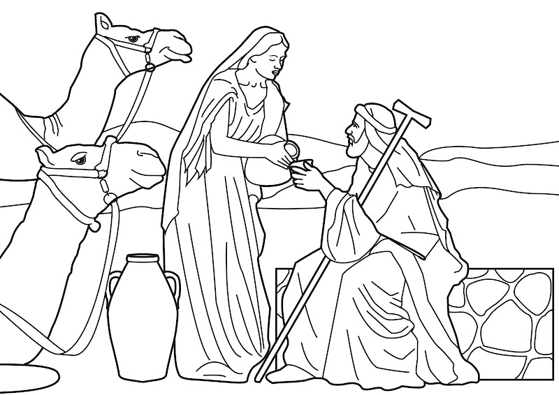 eliezer and rebecca at the well coloring pages