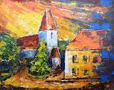 Katolícky kostol s farou (maľba špachtľou)