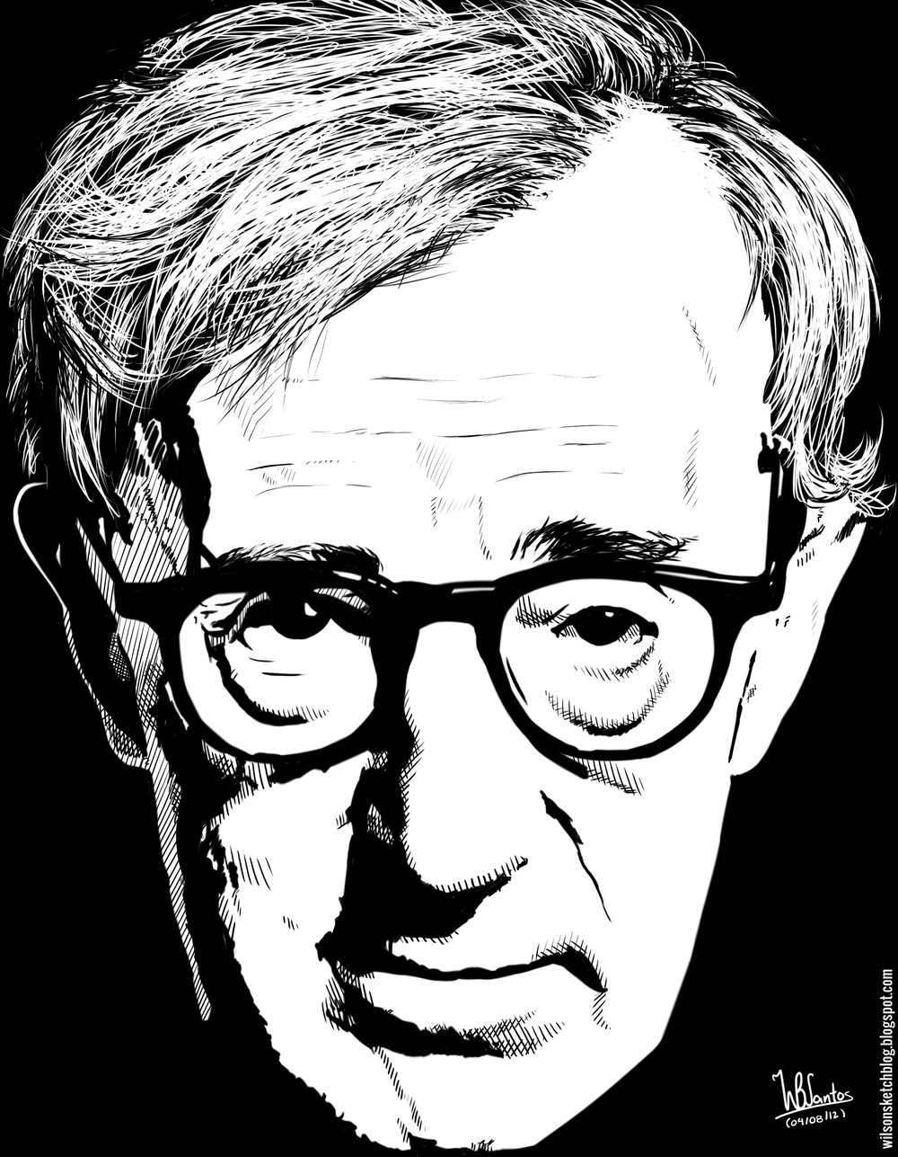 Woody Allen Drawing Ink Drawing of Woody Allen