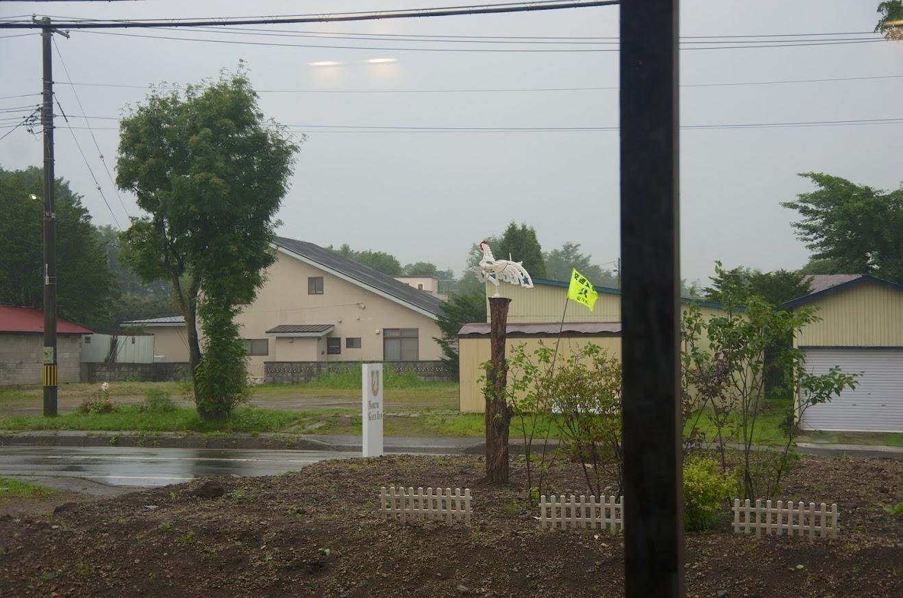 窓から外を見る