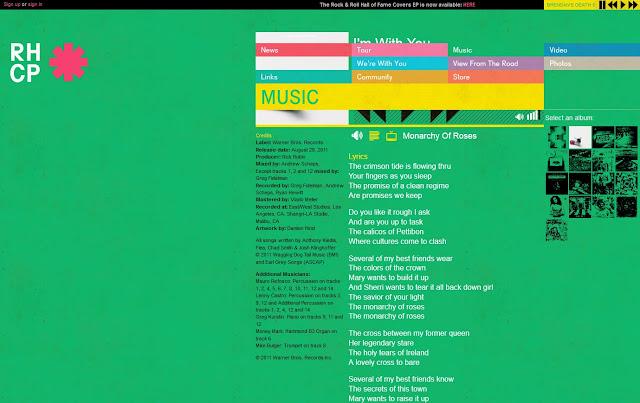 *色彩變化豐富的搖滾樂團網站 Red Hot Chili Peppers Web Site 5