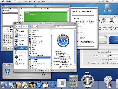 Screenshot di Mac OSX 10.3 Panther con più finestre aperte
