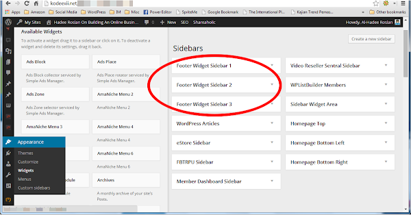 WordPress Footer Widgets Admin Section