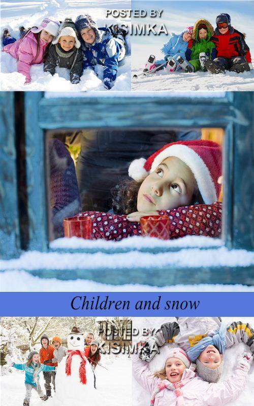 Stock Photo:Children and snow