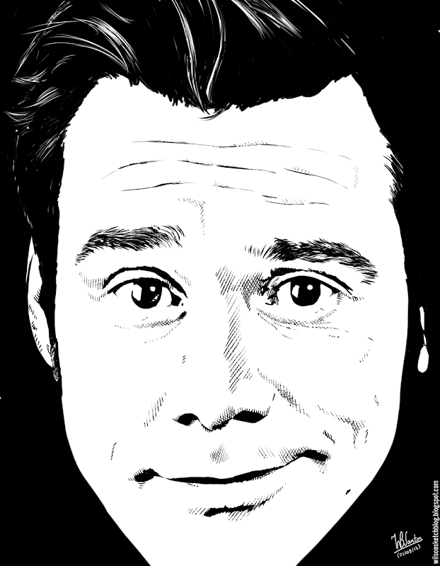 Ink drawing of Jim Carrey, using Krita 2.4.