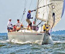 J/30 cruiser one-design sailboat- rounding mark at Annapolis Race week
