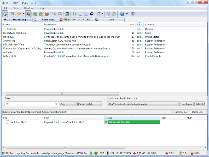 Screenshot of DC++ 0.828 Direct Connect File Sharing & Transfer PC Software Free Download at Alldownloads4u.Com