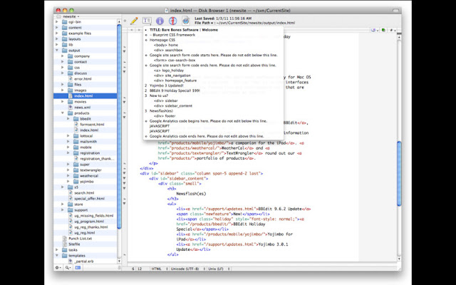 Textwrangler -  free html editor for mac