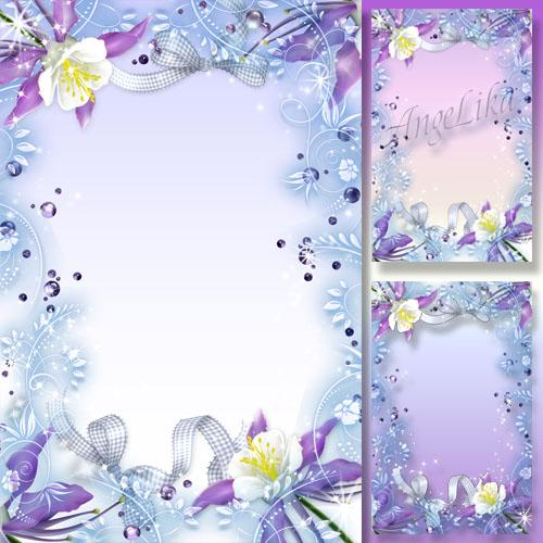 Нежная легкая рамка для фото - Сияющие цветы