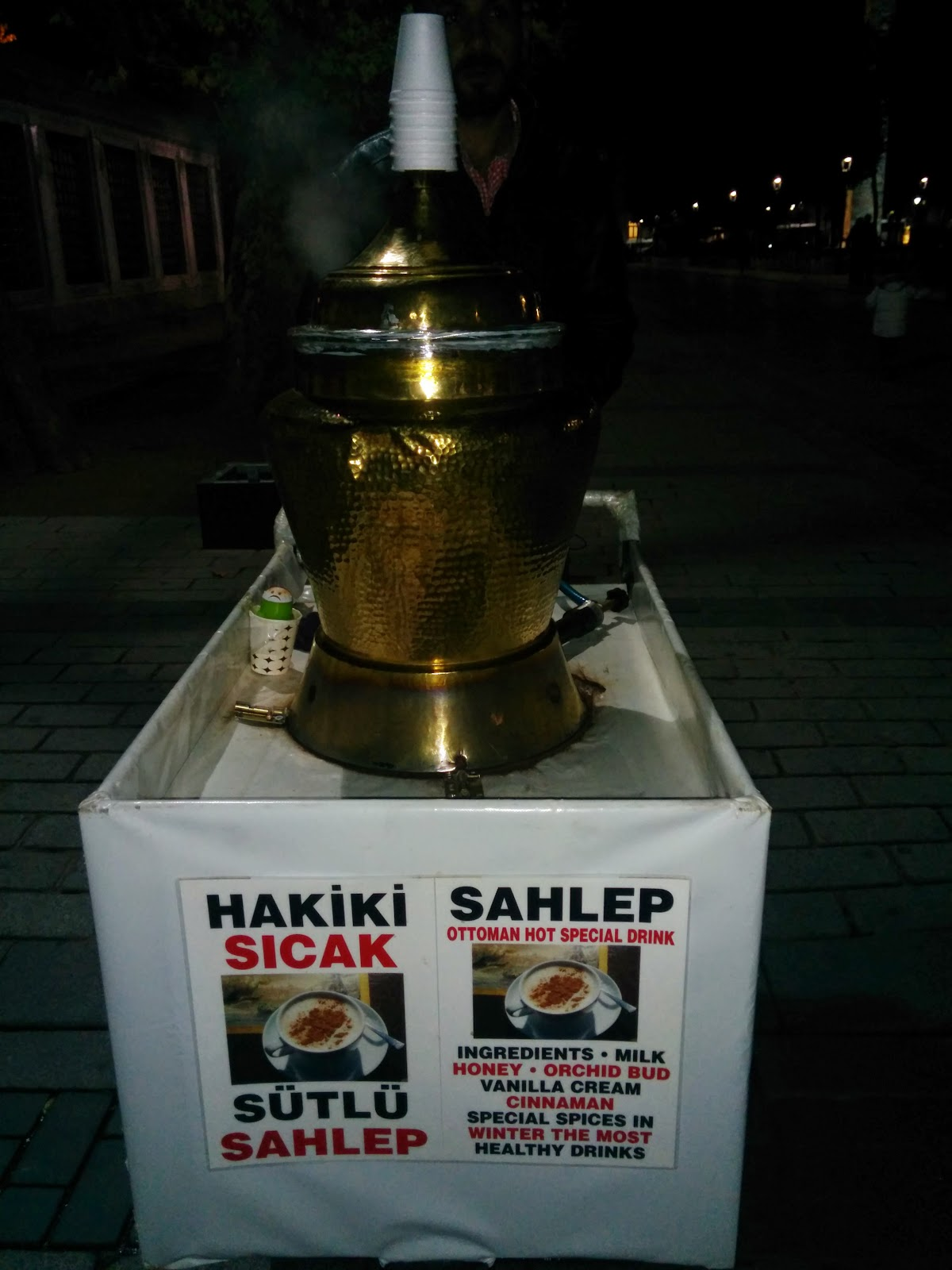 Street seller selling Sahlep at Istanbul, Turkey