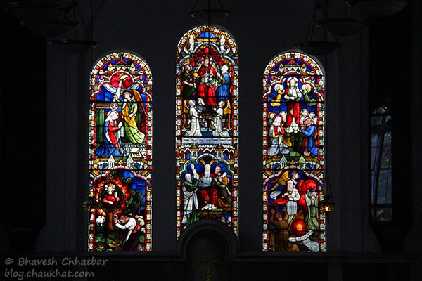 Stained glass work in St. Mary's Church, Pune