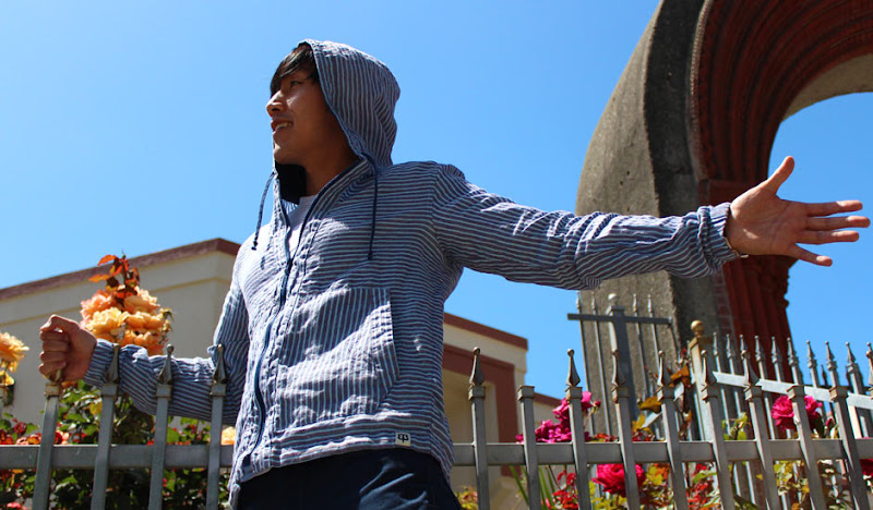 Blue Linen Hoodie Arm Extended
