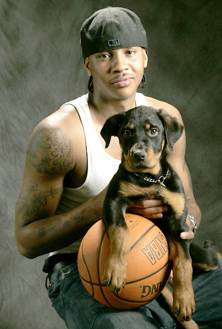 Carmelo Anthony and a dog