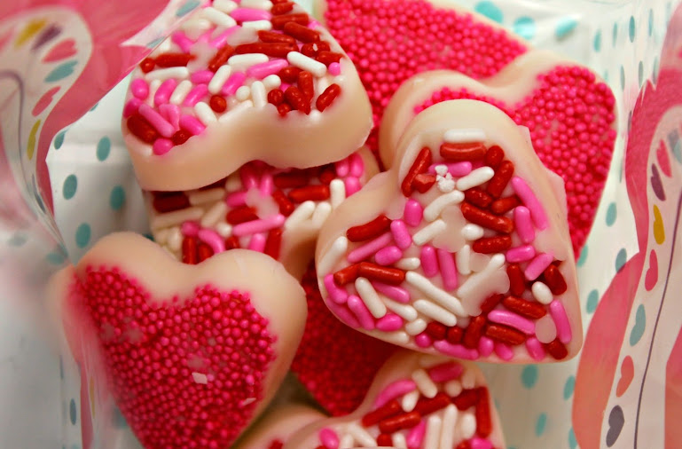 White Chocolate Candy Valentine Hearts