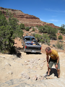 The road into the Maze; Kev stacking a few rocks