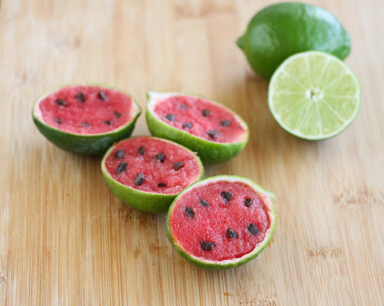 Watermelon Sorbet in Lime Shells