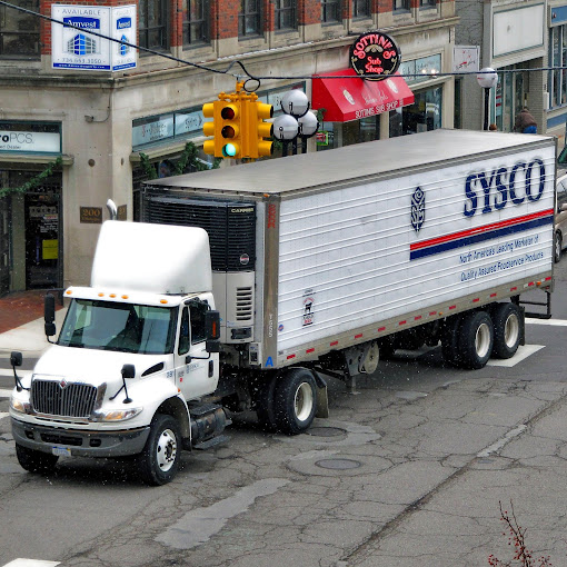 A Sysco truck arrives on Main Street, Park City, Utah