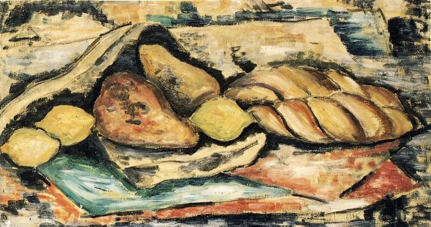Marsden Hartley - Still LIfe with Bread and Fruit