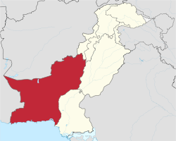Location of Balochistan in Pakistan