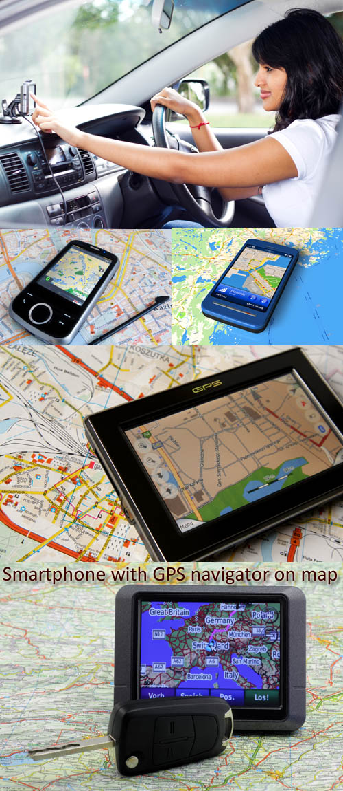 Stock Photo: Smartphone with GPS navigator on map