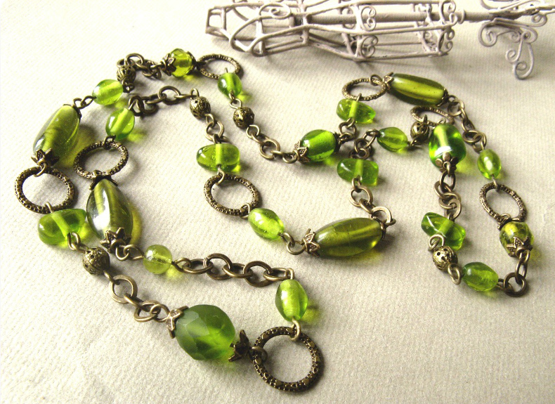 Green glass bead and antique bronze necklace