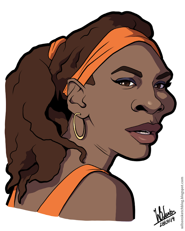 Cartoon caricature of Serena Williams.