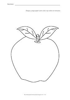 Actividades para estimulación temprana. Rasga y pega papel lustre de color rojo sobre la manzana. Ayuda a tu niño a identificar, asociar y relacionar la manzana con el color rojo