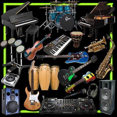 Grafica -Immagini Raccolta Strumenti e Accessori Musicali F.to .PSD con trasparenza