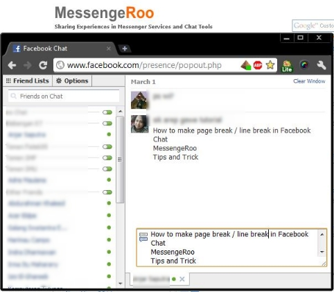 Create Page Break Line Break in Facebook Chat Windows