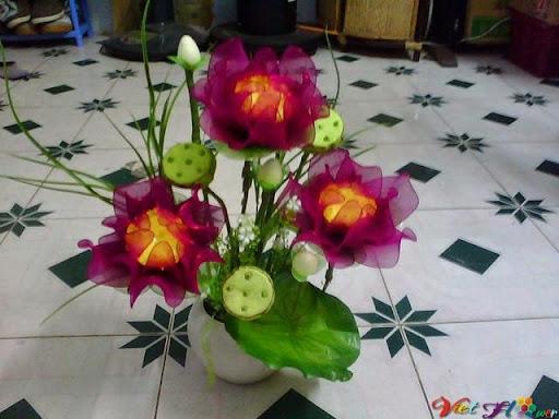 mẫu hoa sen bằng vải voan 9