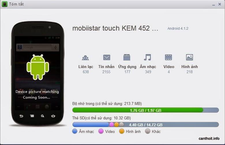 Xem thông tin về thiết bị Android đã kết nối