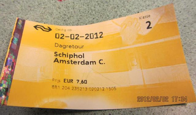 Schiphol前往阿姆斯特丹市區的火車票