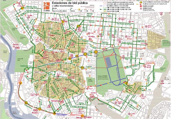 BiciMAD, bicicletas públicas de Madrid (II). Por dónde ir - pincha para ampliar el plano