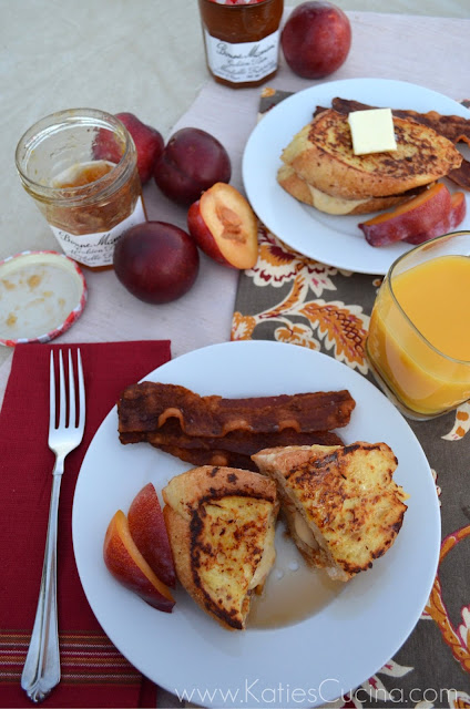 Buttermilk French Toast Stuffed with Golden Plum Cream Cheese