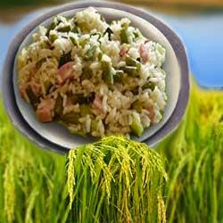 Рецепт салата из рис, ветчины и дыни
