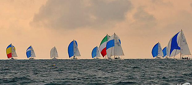 J/80 one-design sailboats- sailing in Key West afternoon