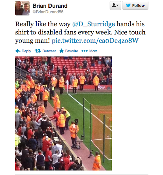 Respect! Daniel Sturridge gives his shirt to disabled Liverpool fan after Crystal Palace win [Picture]