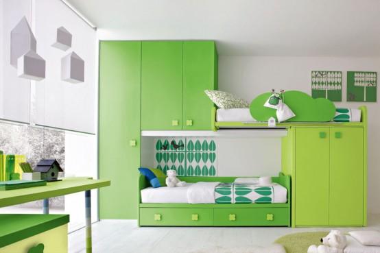 Modern green ergonomic kids bedroom design - HOME DESIGNS