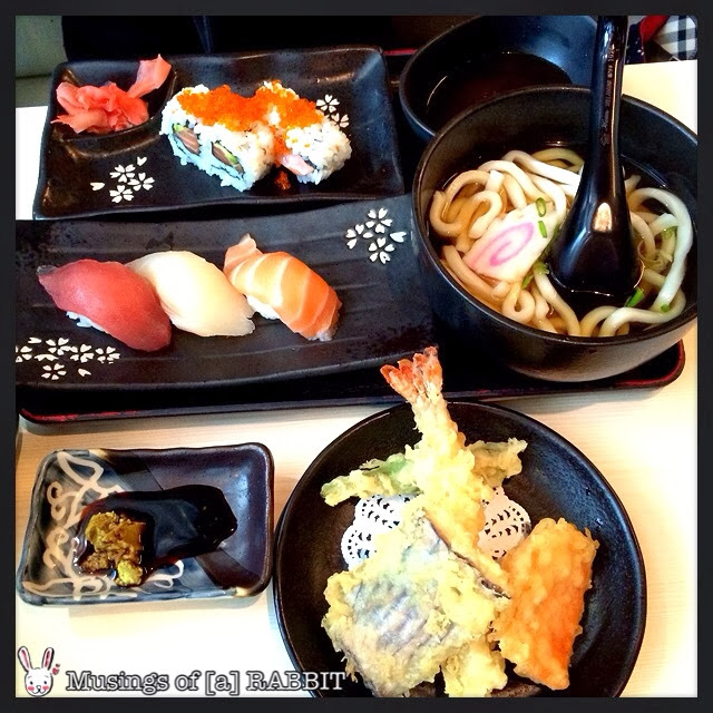 Mini Soba, Salmon, Avocado Maki, Mixed Sushi (Salmon, Tuna, Tai) and Mixed Tempura