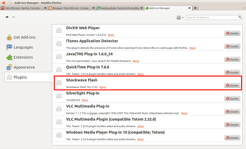 Flash Player plugin di Firefox 4