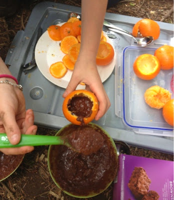 Campfire Chocolate Brownie Oranges
