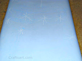 Oil pastel resist snow flake painting