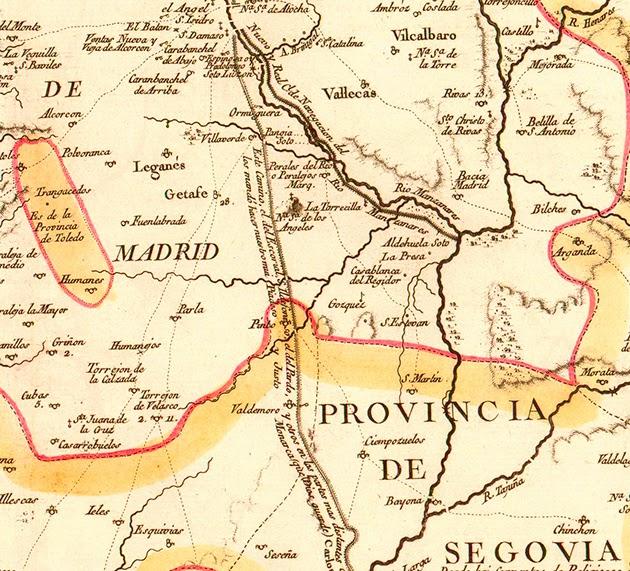 vista parcial del mapa que delimitaba las Tierras de Madrid y de Segovia. Año 1773.