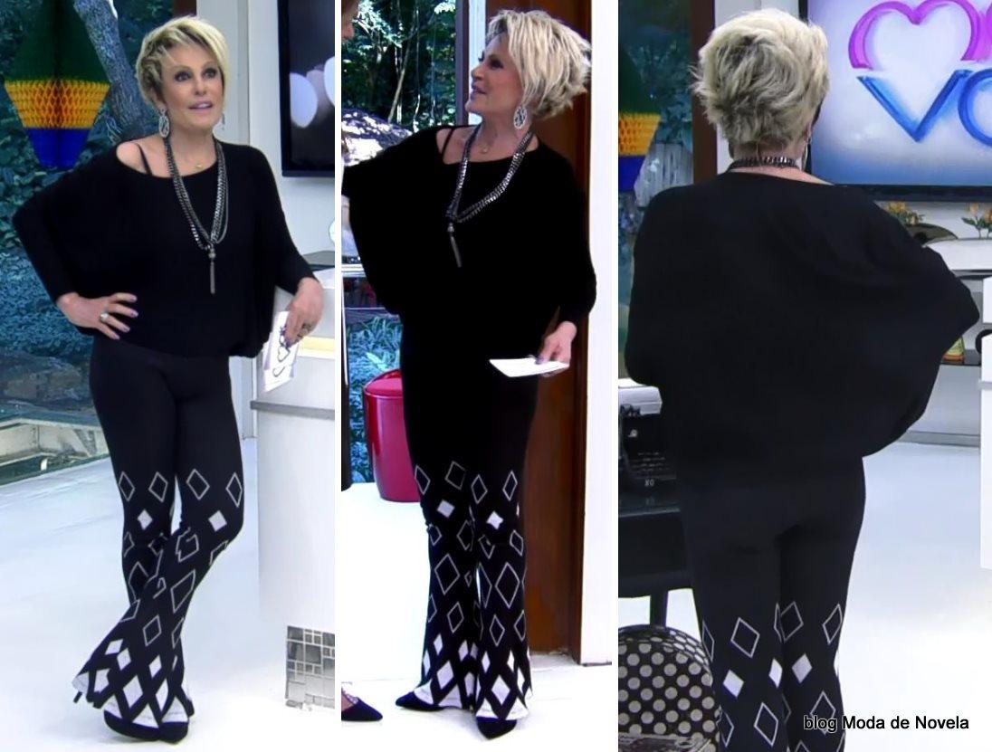 moda do programa Mais Você - look P&B da Ana Maria Braga dia 25 de junho