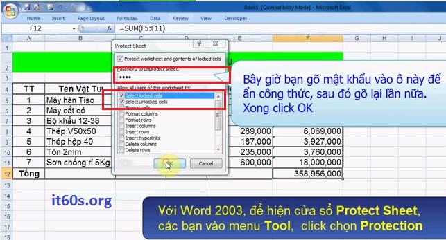 Hướng dẫn cách ẩn công thức trong Microsoft Excel 7