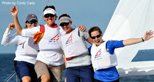 J/22 match racing sailors-  Sallly Barkow sailing J22s