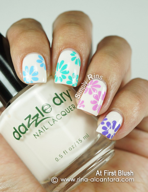 Floral Pastel Nail Art Design on Dazzle Dry At First Blush